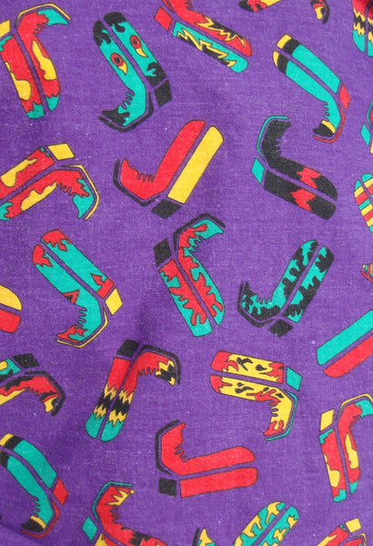 Vintage Rockmount Western Shirt Red & Purple Rodeo Boots Novelty Print L XL