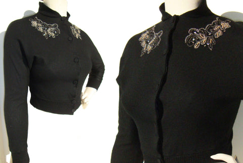 50s Evelyn Hall Cropped Beaded Sweater
