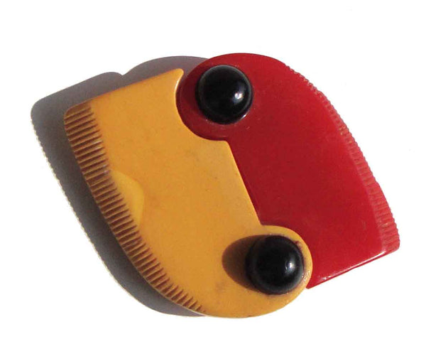 Red & Yellow Bakelite Buckle - Metro Retro Vintage