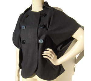 Vera Wang Coat Midnight Wool Shrug Jacket S / M