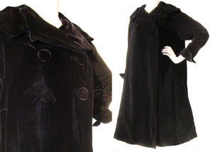 Vintage 50s Coat Black Velvet Topper Pyramid Swing Coat L