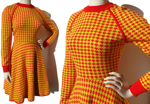 Vintage Sweater Dress Red & Yellow Houndstooth Print S / M