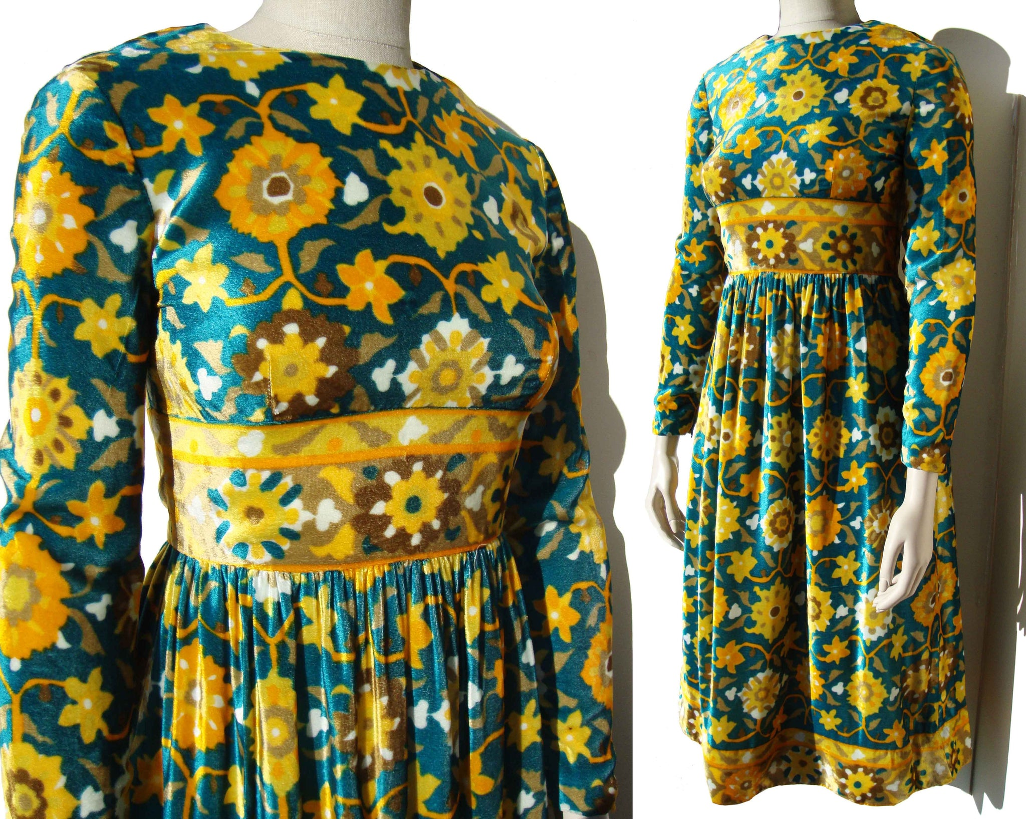 Vintage 70s Dress Mod Velvet Hippie Floral Joan Leslie by Kasper - S