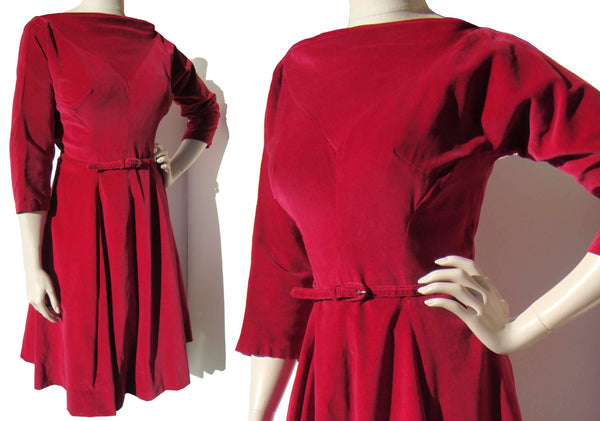 Vintage 50s Red Dress Velveteen Rockabilly Party Dress L
