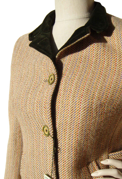 Vintage Italian Wool Jacket with Velvet Collar