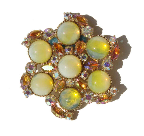 Vintage 60s Juliana Brooch DeLizza & Elster Yellow Rhinestone Cocktail Pin