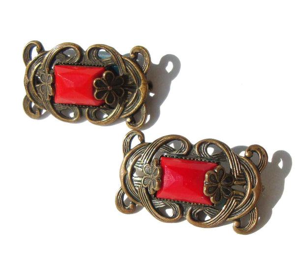 Art Nouveau Lace Pins Brass & Red Stone Brooches - Neiger Brothers