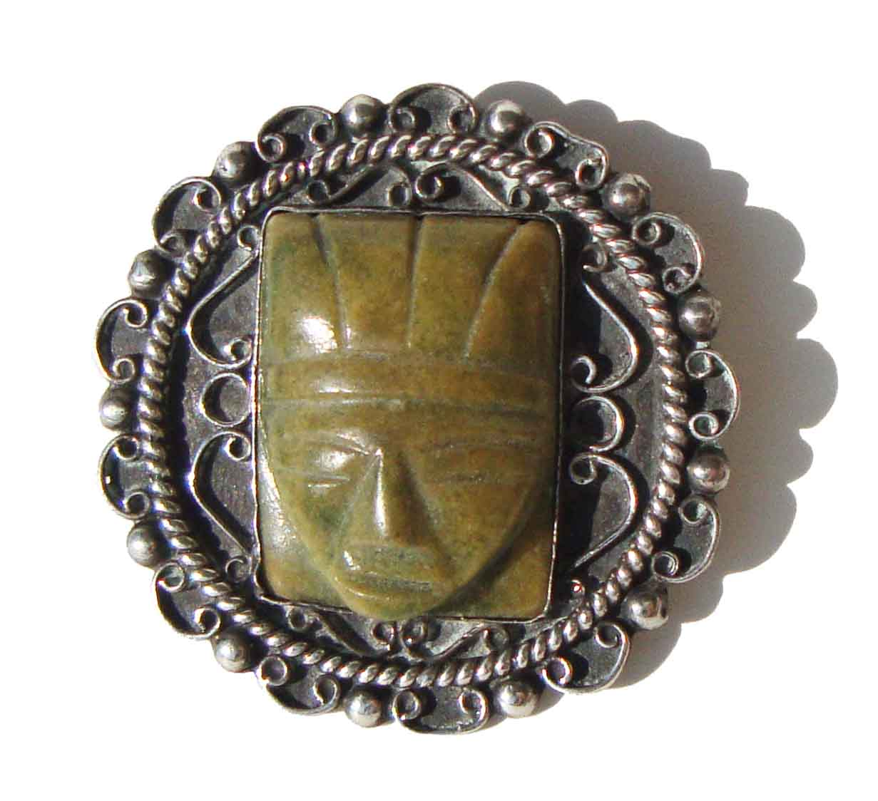 Vintage 40s Taxco Brooch 980 Silver & Faux Jade Mask Pin