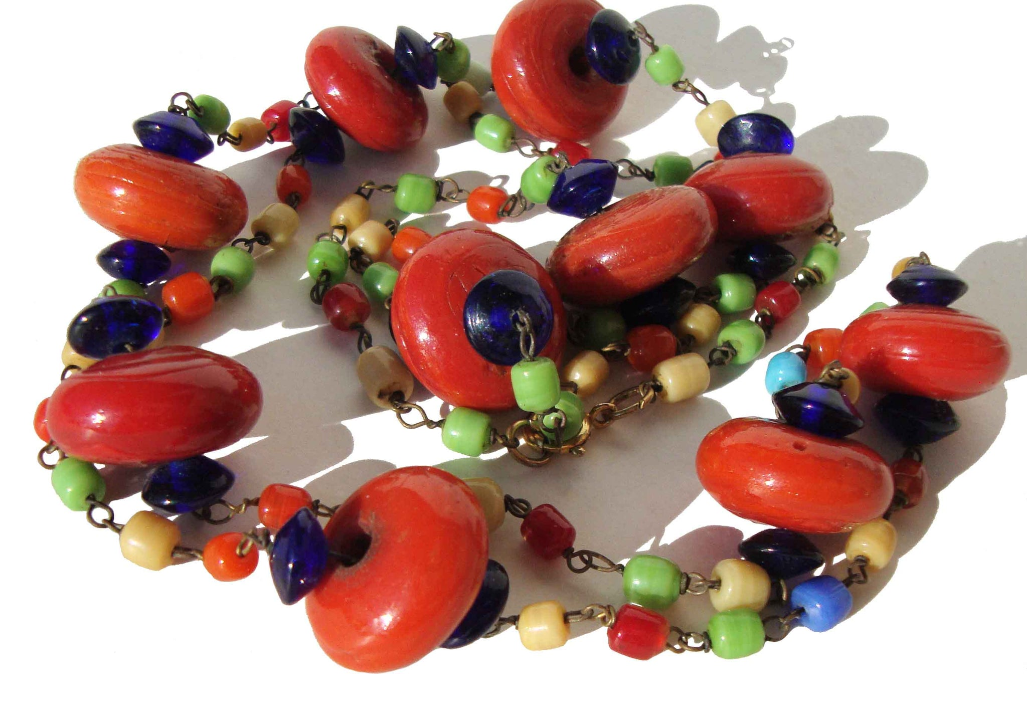 Vintage Flapper Necklace Bohemian Art Deco Glass Lampwork Beads