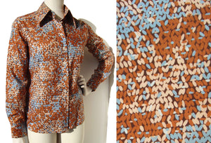 Vintage 60s Dior Blouse Abstract Floral Ladies Shirt M / L