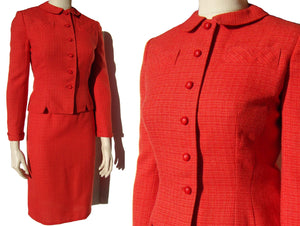 Vintage 60s Red Suit Secretary Wool Jacket & Skirt Set S / M