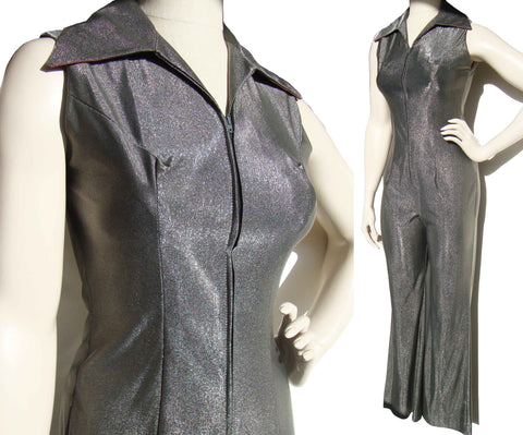 Vintage 70s Catsuit Metallic Gray Lamé Disco Jumpsuit S