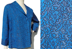 Vintage 50s Topper Blue Silver Brocade Asian Swing Jacket