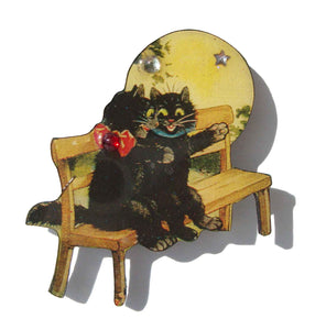 Vintage Louis Wain Cat Brooch Anthropomorphic DftD