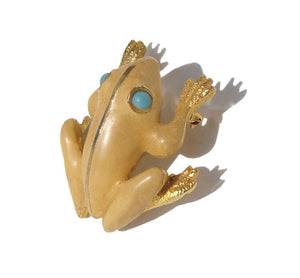 Vintage Frog Brooch Enameled Toad Novelty Pin