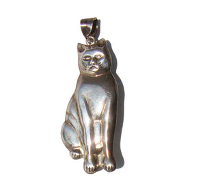 Vintage Sterling Cat Pendant Puffy 3D Silver