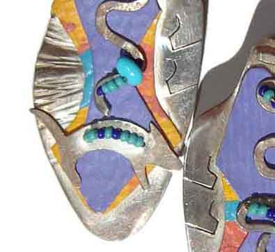 Close Up of 80s Memphis Design Group Earrings Sterling Silver Novelty Dogs American Studio Jewelry