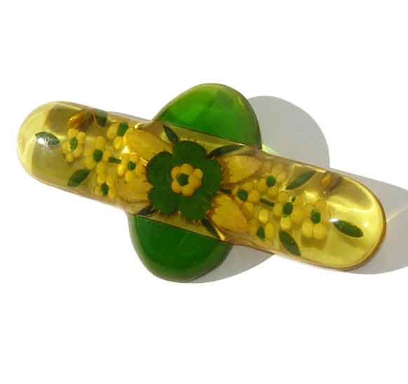 Vintage Bakelite Brooch Apple Juice Reverse Carved Art Deco Floral Pin - Book Piece