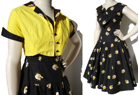 50s Rockabilly Dress Set Mexican Novelty Print Cotton & Bolero Jacket S / M