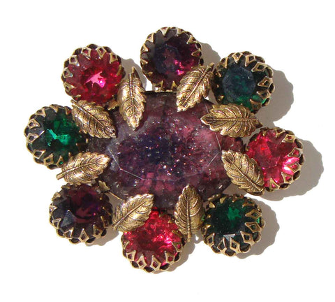 Vintage CIS Crackle Glass Brooch