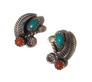 Vintage Navajo Earrings Sterling Turquoise Coral