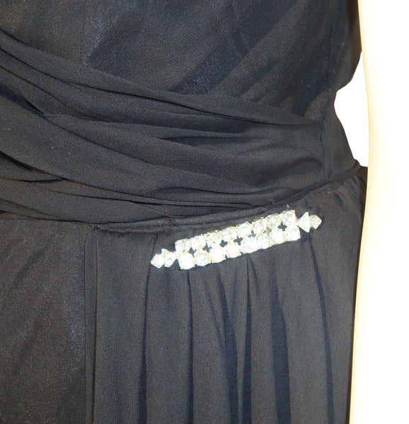 Vintage Dress with Rhinestone Trim