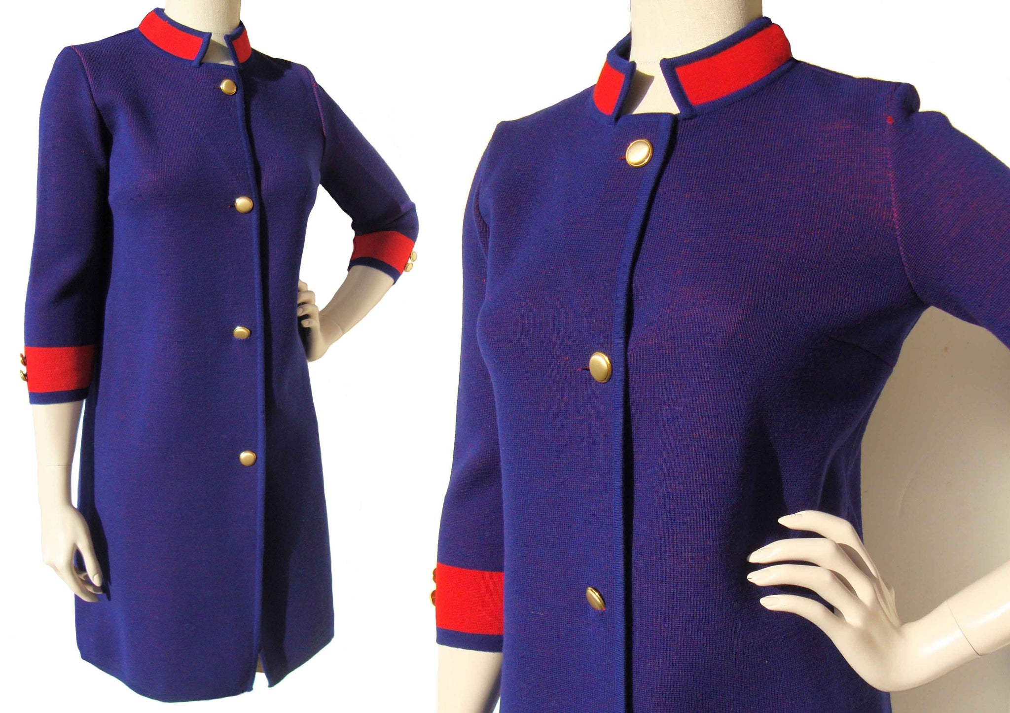 Vintage 60s Wool Dress Two Toned