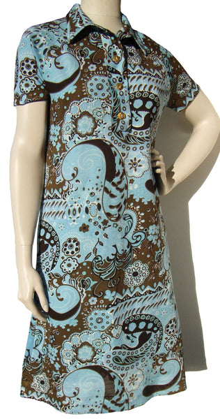 70s Goldworm Dress Psychedelic Hippie Print