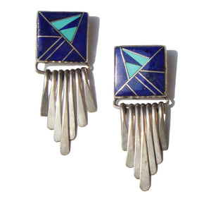 Vintage Zuni Earrings Sterling Fringe Lapis Mosaic Inlay - Signed