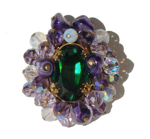 Vintage 50s Beaded Brooch Lampwork & Crystal Art Glass Beads Pin