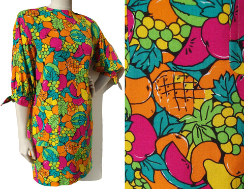 Vintage 80s Givenchy Dress Tutti Frutti Fruit Print M / L