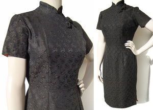 Vintage 50s Cheongsam Dress Black Rose Damask Qipao M