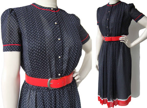 Vintage 80s Secretary Dress Black & White Polka Dot w/ Red Trim M