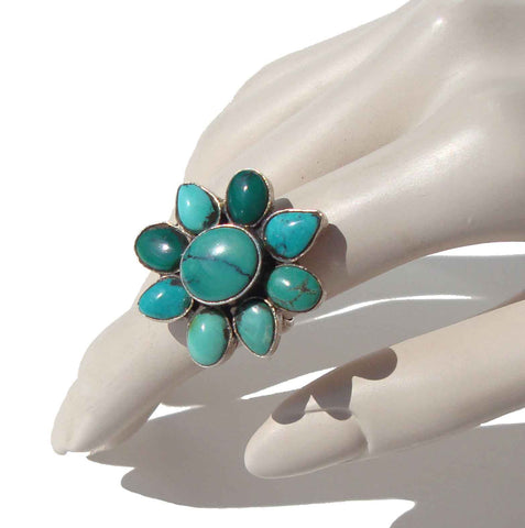Vintage Nepali Turquoise Ring Sterling Silver Flower Sz 7.75