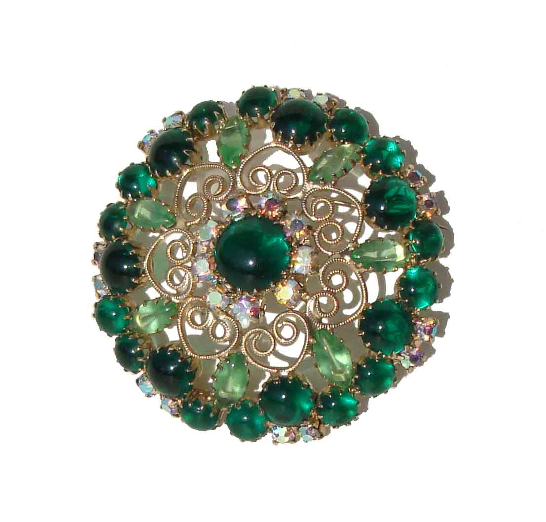 Vintage Green Juliana Brooch DeLizza & Elster Rhinestone Cocktail Pin