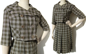 Vintage 60s Plaid Suit Peck & Peck Bolero Jacket Skirt Set S XS