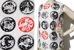 Vintage 60s Zodiac Blouse Astrology Top M