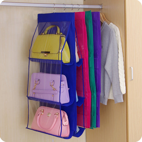 Hand Bag organizer  and storage with  6 Pocket Closet Rack Hangers