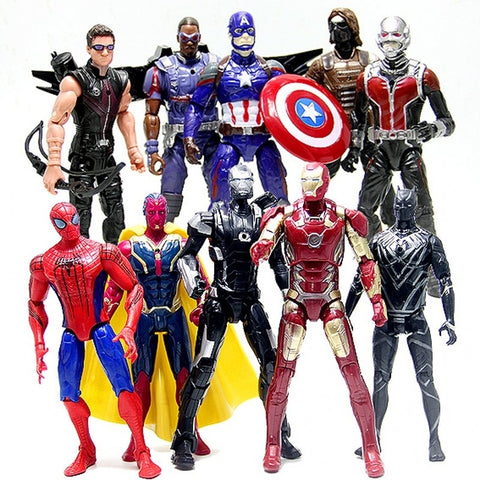 10 PCS The Avengers The American Captain Iron Man Spiderman Ant-Man Hawkeye Action Figures Toy