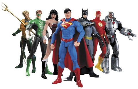 Hot Sale 7pcs/set Justice league superman Wonder flash batman Lantern Aquaman movable PVC Action Figure Collectible Model Toy 17cm KT2605