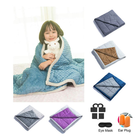 "Daverose Minky Dot Weighted Blanket | One Piece Design | Full/Queen/King Bed (Azurite Minky Dot/Light Grey, 48""x72"" 