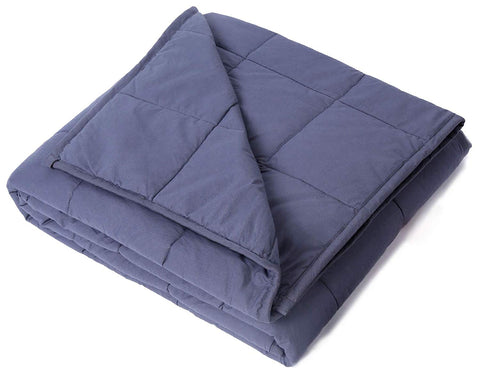 "Weighted Blanket 5 lbs 36"" x 48"" for 30-70 lbs, 100% Cotton Fabric Throw Blankets 2.0, Dark Gray"