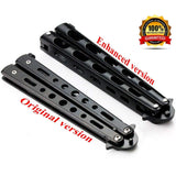 Anlado Balisong Butterfly Knife Trainer Practice with O-Ring Latch - Enhanced Version - Black Metal Steel - no Offensive Blade - for Beginner, Children, Butterfly Knives Lover and More