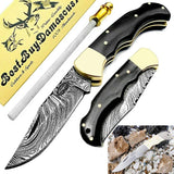 Pocket Knife 6.5'' Buffalo Horn Damascus Steel Knife Brass Bloster Back Lock Folding Knife + Real Horn Handel Knife + Sharpening Rod Pocket Knives 100% Prime Quality+ Camel Bone Small Pocket Knife.
