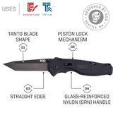 "SOG Folding Knife Pocket Knife - ""Flash II Tanto"" TFSAT8-CP Spring Assisted Knife with 3.5"" Black TiNi Straight Edge Knife Blade + Tactical Knife Grip"