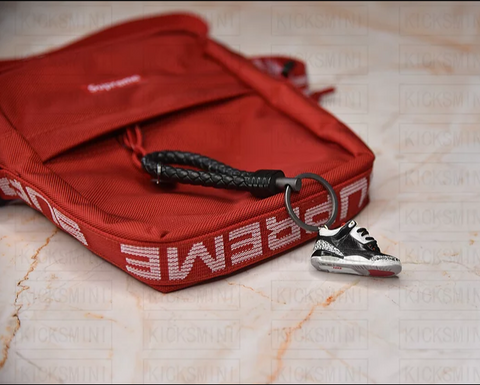 "Handcrafted AJ3 ""Black Cement"" 3D Mini Keychain with Box and Bag"