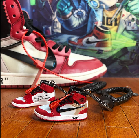 3D mini sneaker keychain Air Jordan 1 Off White Chicago ZIP TIE nike 05-82