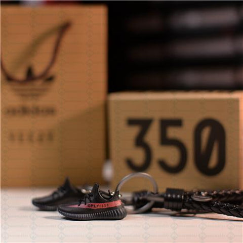 "Yeezy Boost 350 V2 Core ""Red Stripe"" 3D Mini Sneaker Keychains with Box and Bag"