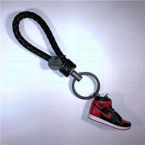 "Handcrafted AJ1 ""Bred/Banned"" 3D Keychain with Box and Bag"