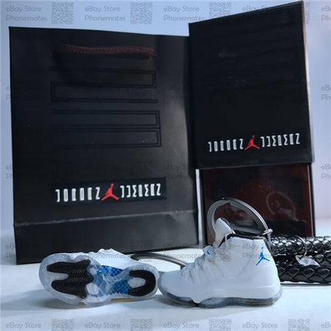 "Handcrafted AJ11 ""Legend Blue"" 3D Keychain with Box and Bag"